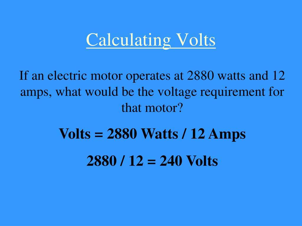 Calculating Volts
