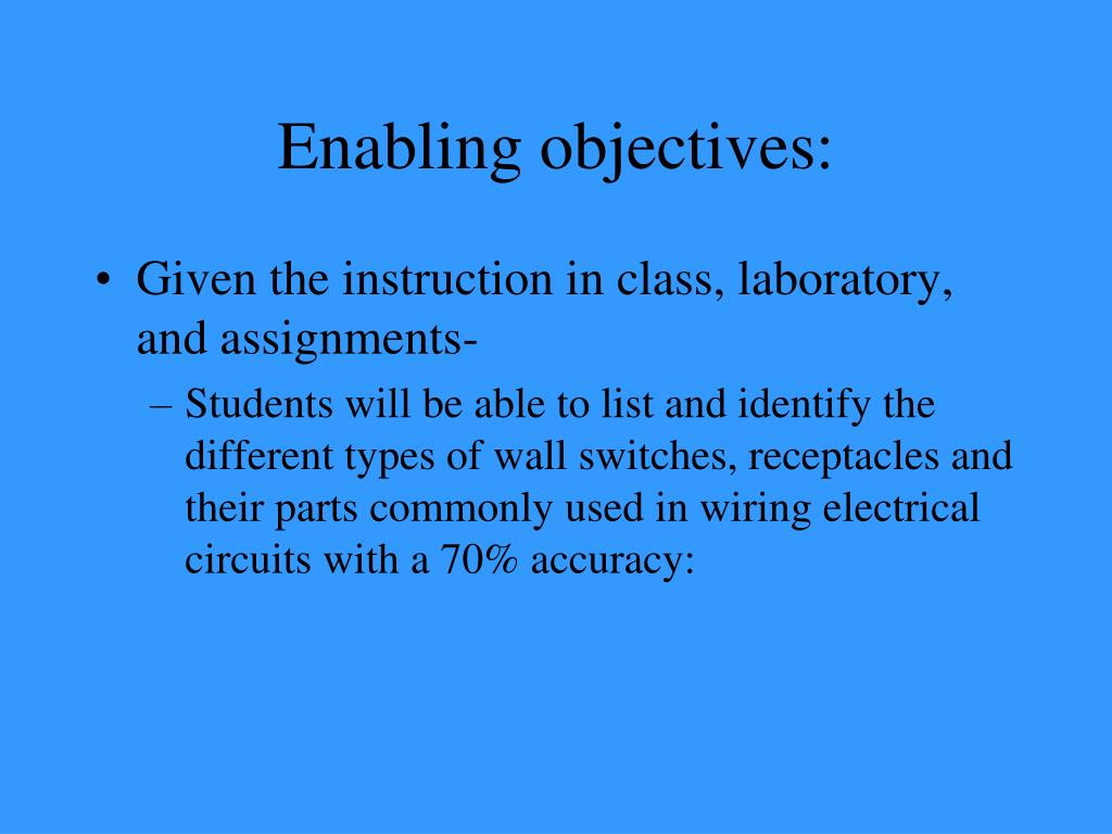 Enabling objectives: