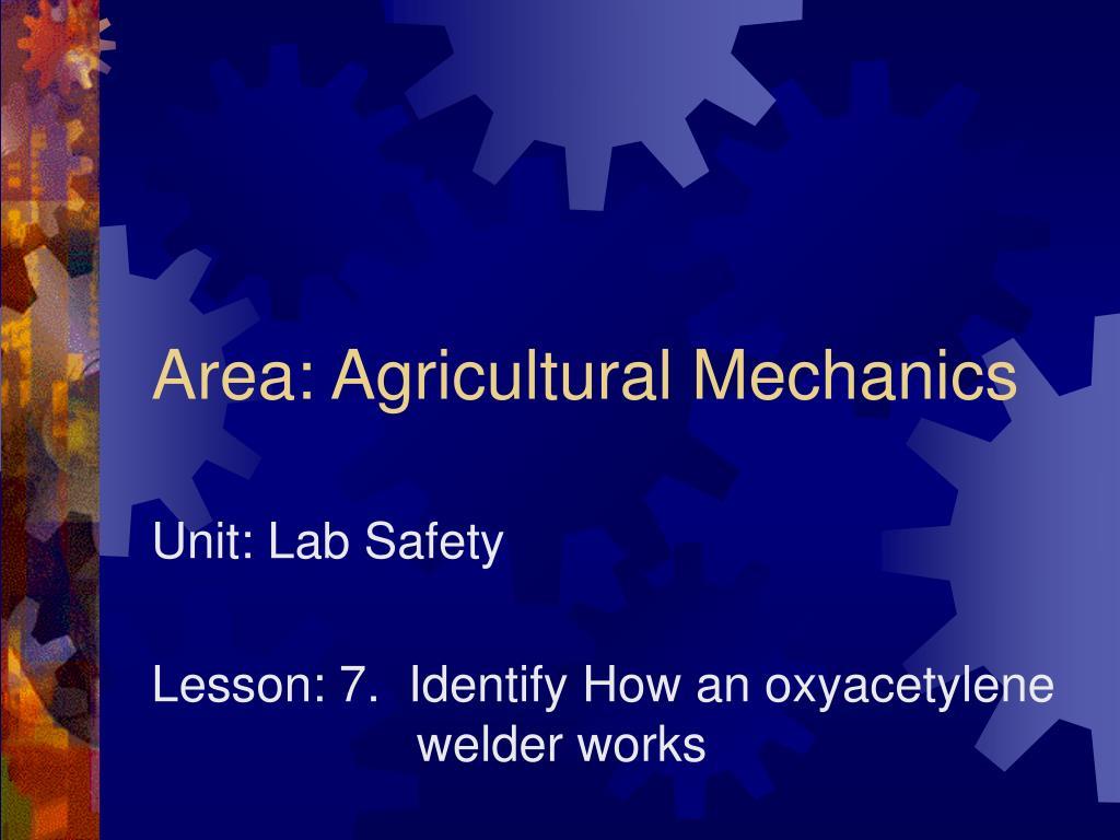 Area: Agricultural Mechanics
