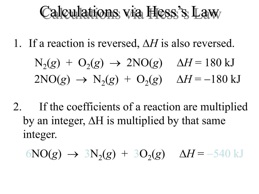 Calculations via Hess's Law