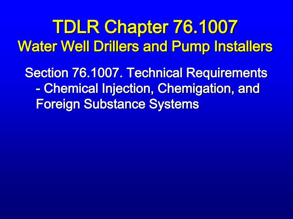 TDLR Chapter 76.1007