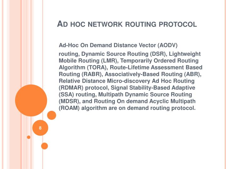 Ad hoc network routing protocol