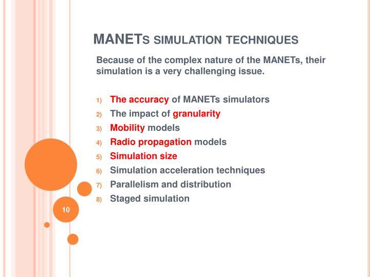 MANETs simulation techniques