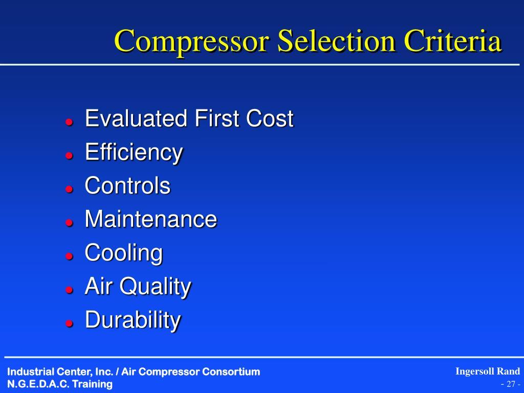 Compressor Selection Criteria