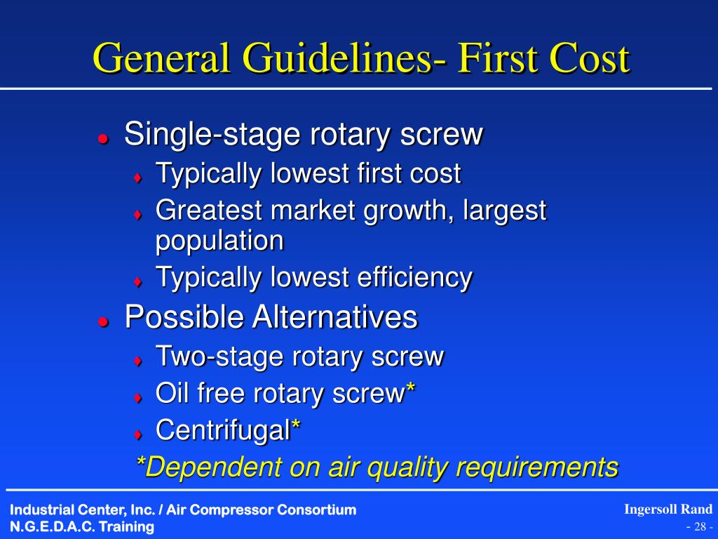 General Guidelines- First Cost