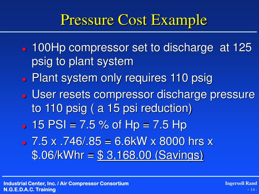 Pressure Cost Example