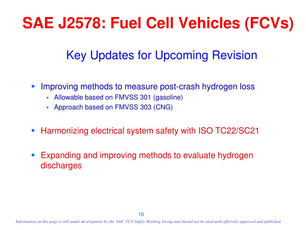 SAE J2578: Fuel Cell Vehicles (FCVs)