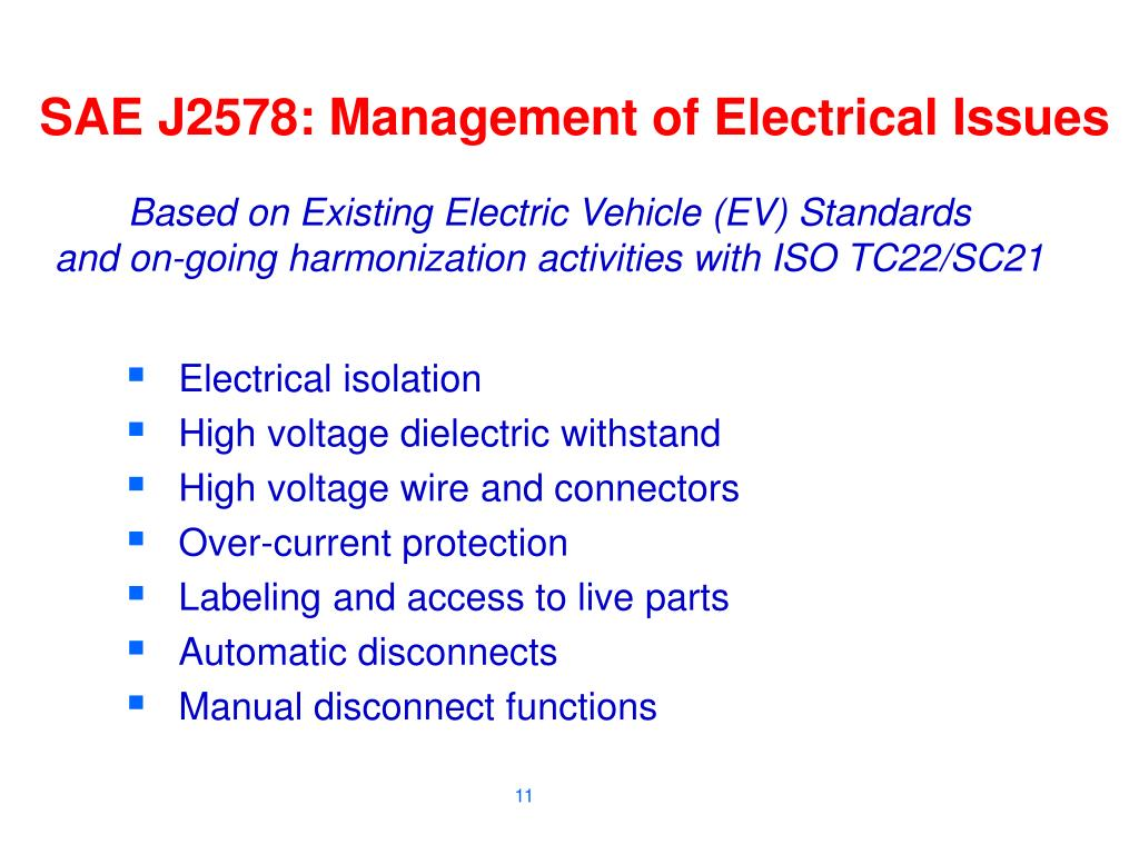 SAE J2578: Management of Electrical Issues