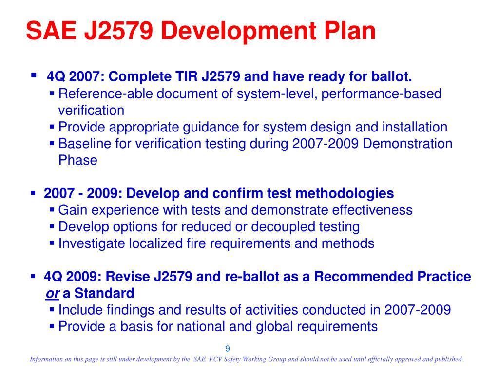 SAE J2579 Development Plan