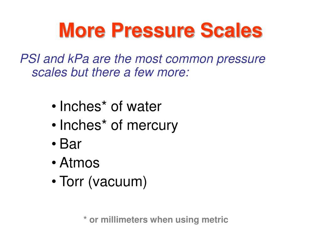 More Pressure Scales