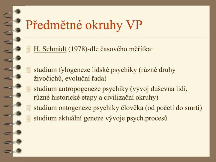 Předmětné okruhy VP
