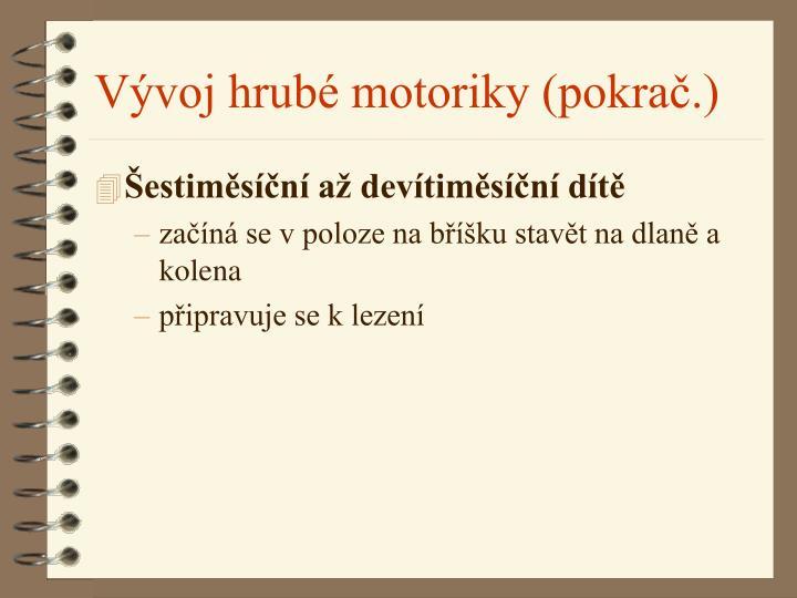 Vývoj hrubé motoriky (pokrač.)