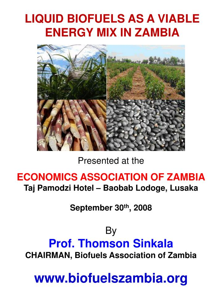 LIQUID BIOFUELS AS A VIABLE ENERGY MIX IN ZAMBIA