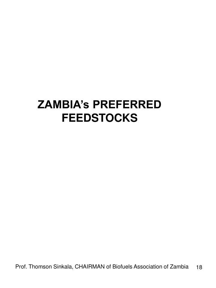 ZAMBIA's PREFERRED FEEDSTOCKS