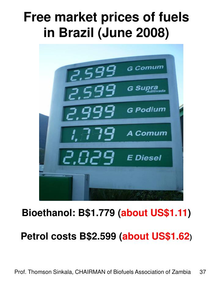 Free market prices of fuels in Brazil (June 2008)