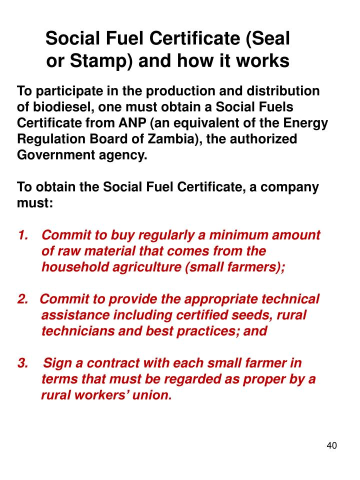 Social Fuel Certificate (Seal or Stamp) and how it works