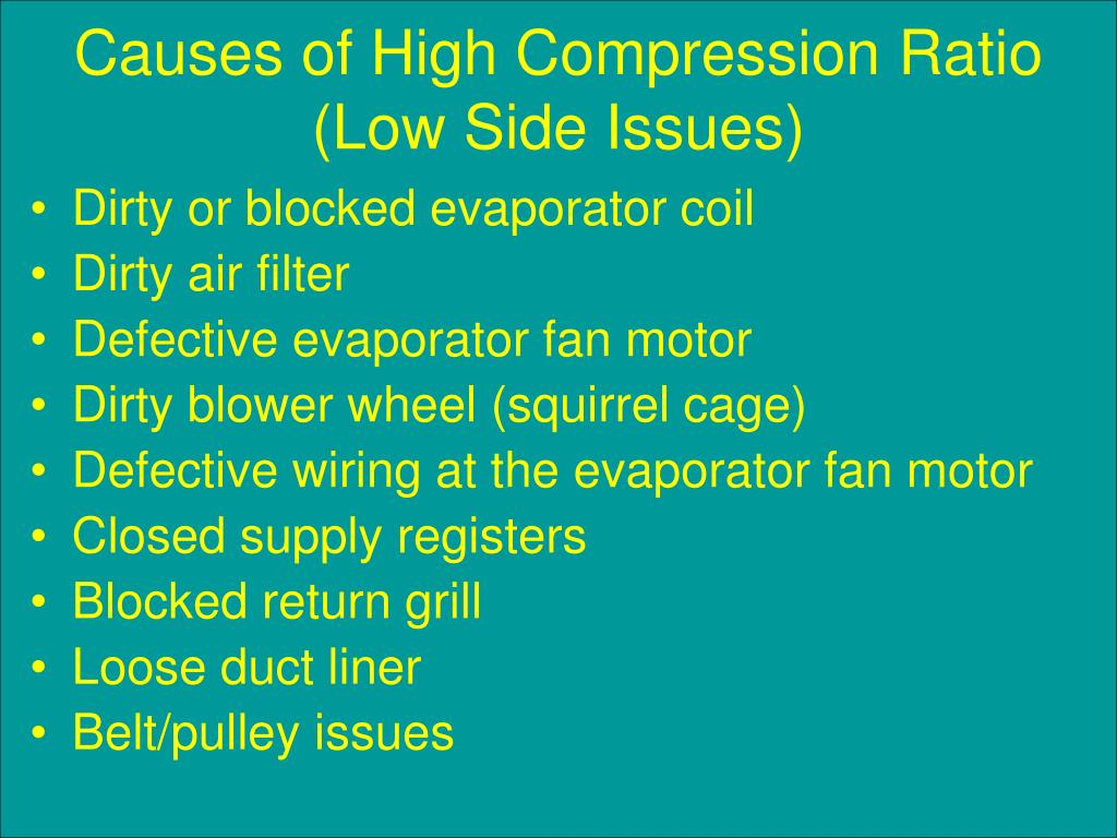 Causes of High Compression Ratio (Low Side Issues)
