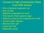 causes of high compression ratio low side issues