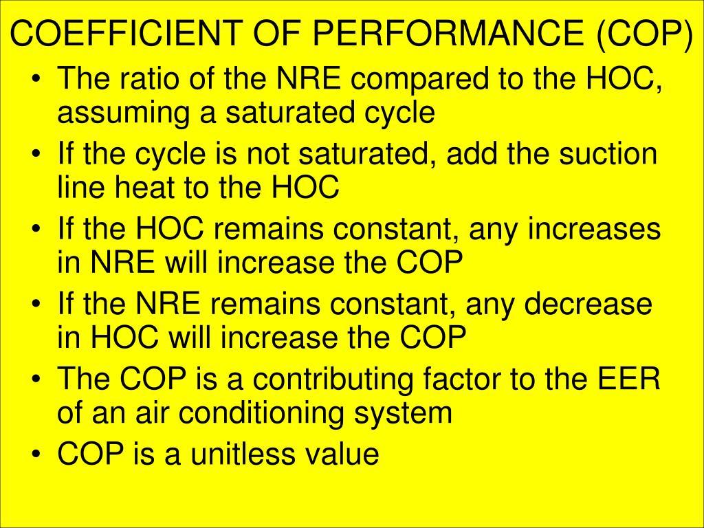 COEFFICIENT OF PERFORMANCE (COP)