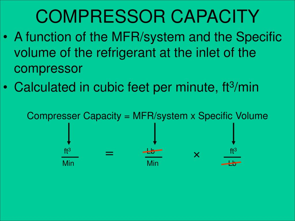 Compresser Capacity = MFR/system x Specific Volume