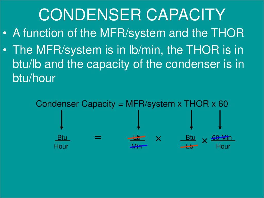 Condenser Capacity = MFR/system x THOR x 60