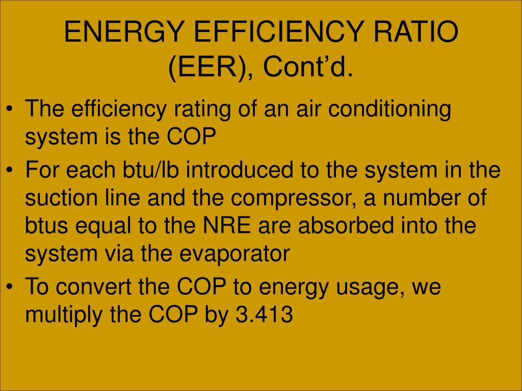 ENERGY EFFICIENCY RATIO (EER), Cont'd.