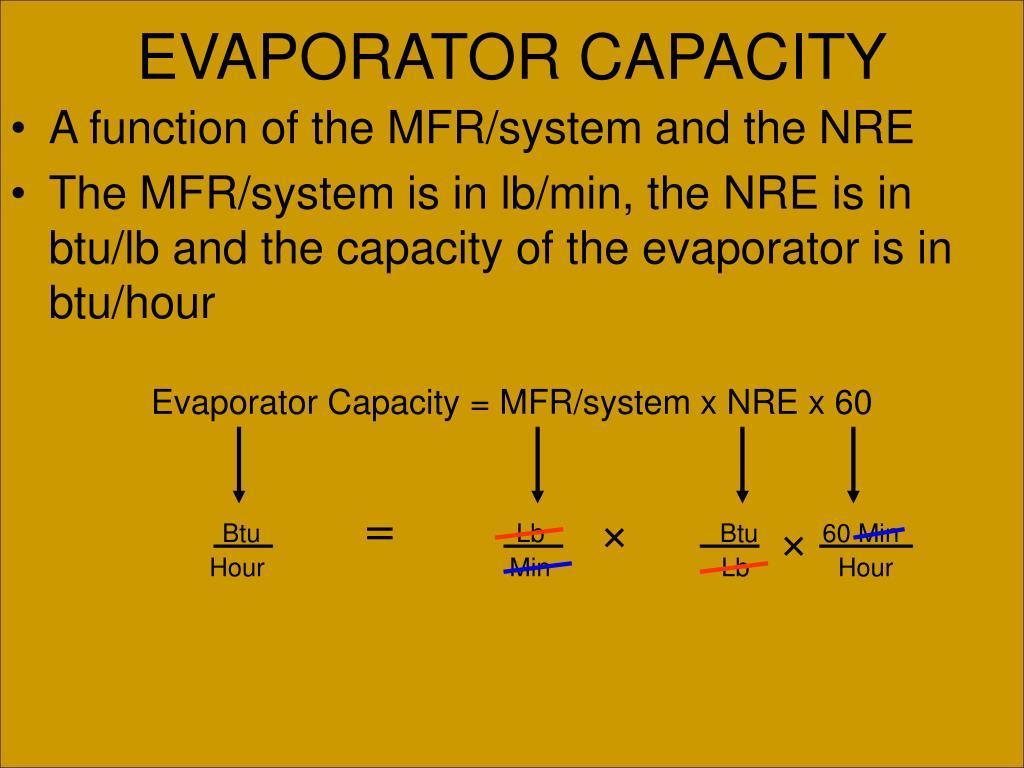 Evaporator Capacity = MFR/system x NRE x 60