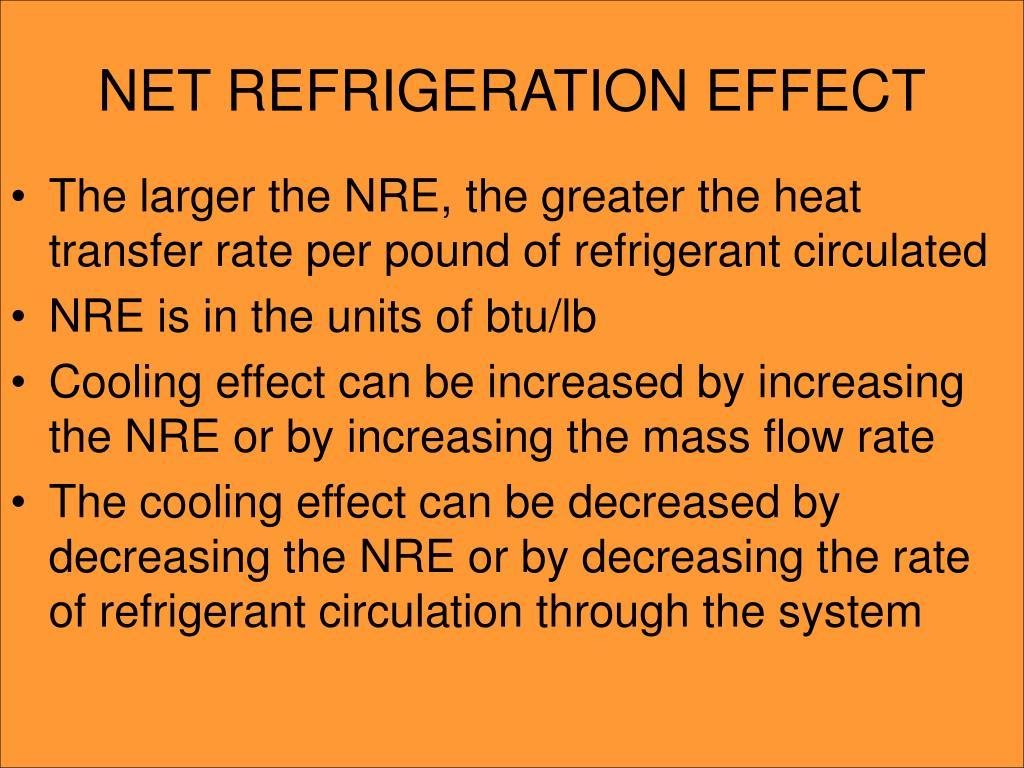 NET REFRIGERATION EFFECT