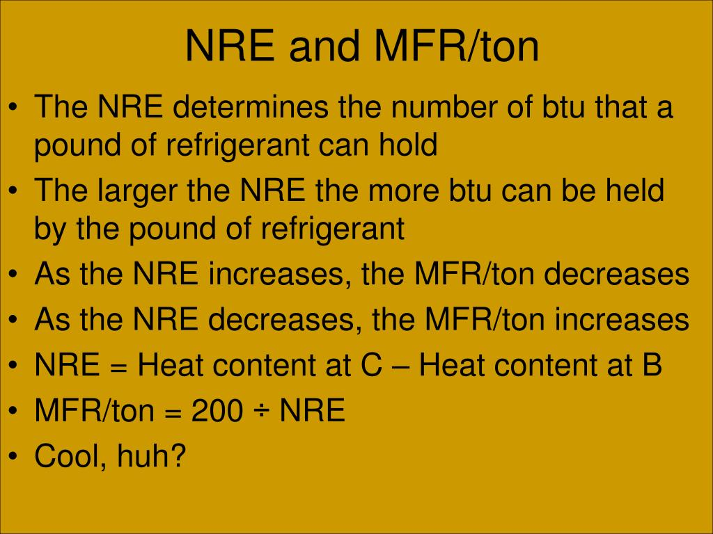 NRE and MFR/ton