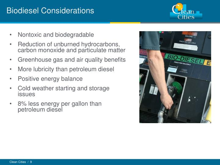 Biodiesel Considerations