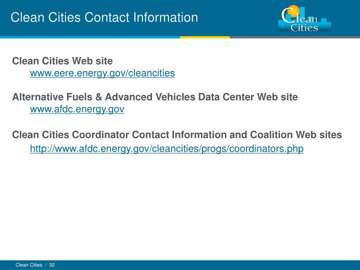Clean Cities Contact Information