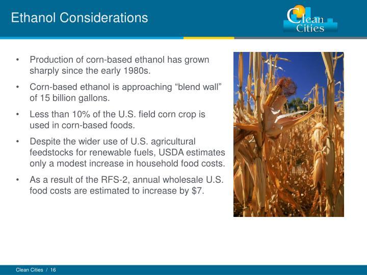 Ethanol Considerations