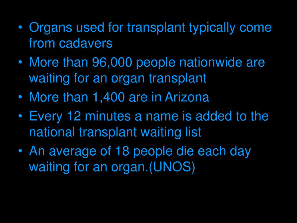 Organs used for transplant typically come from cadavers
