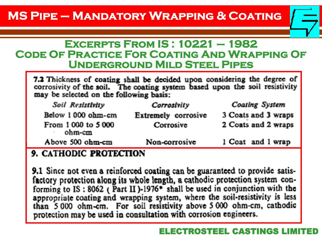 MS Pipe – Mandatory Wrapping & Coating