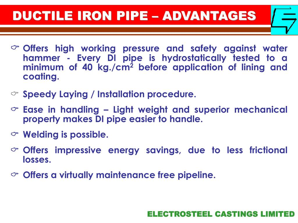 DUCTILE IRON PIPE – ADVANTAGES