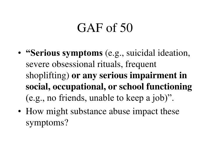 GAF of 50