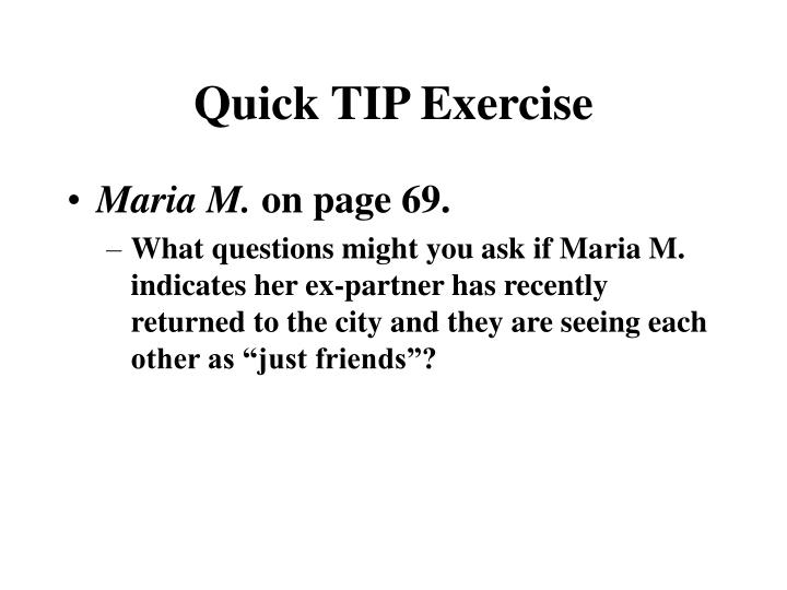 Quick TIP Exercise