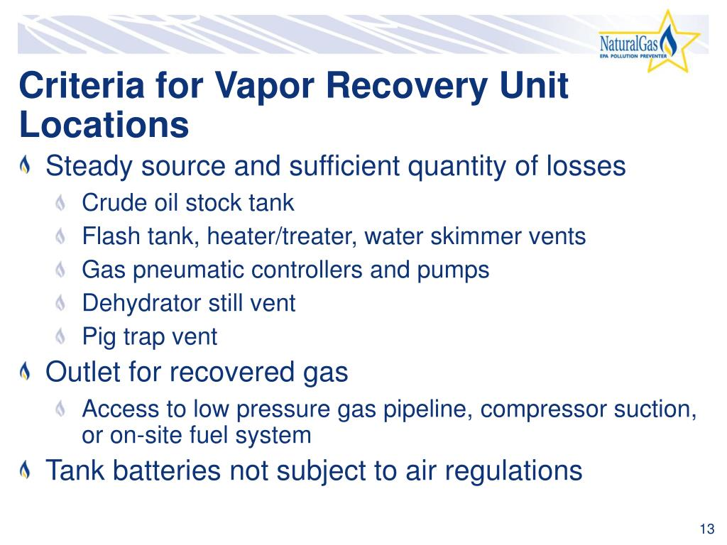Criteria for Vapor Recovery Unit Locations