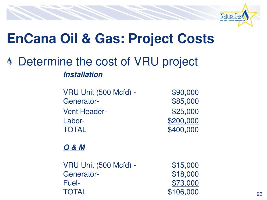 EnCana Oil & Gas: Project Costs