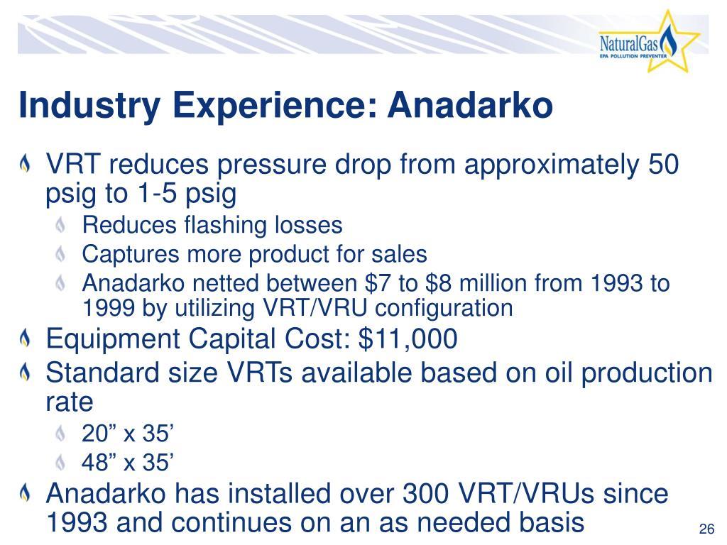 Industry Experience: Anadarko