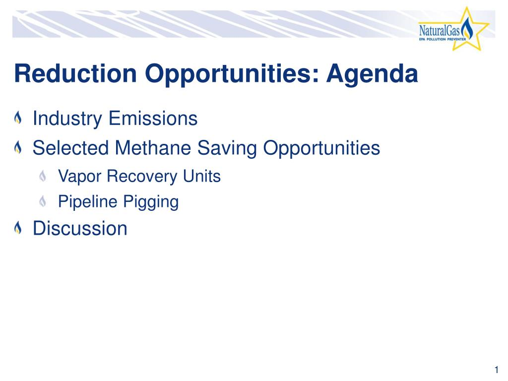 Reduction Opportunities: Agenda