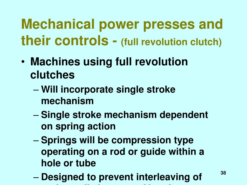Mechanical power presses and their controls -