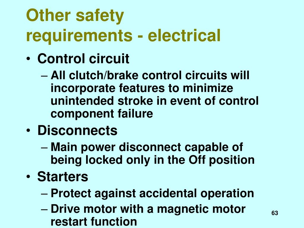 Other safety requirements - electrical