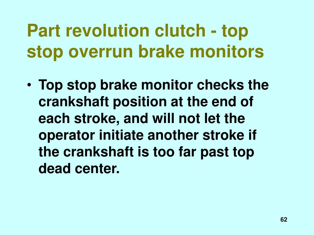 Part revolution clutch - top stop overrun brake monitors