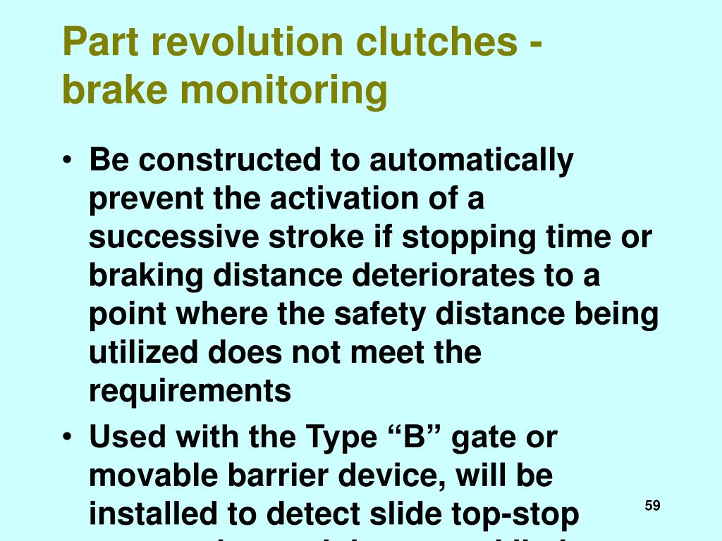 Part revolution clutches - brake monitoring