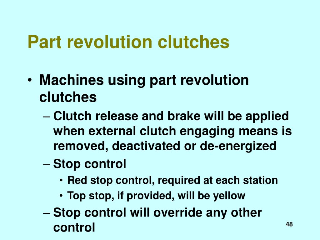 Part revolution clutches