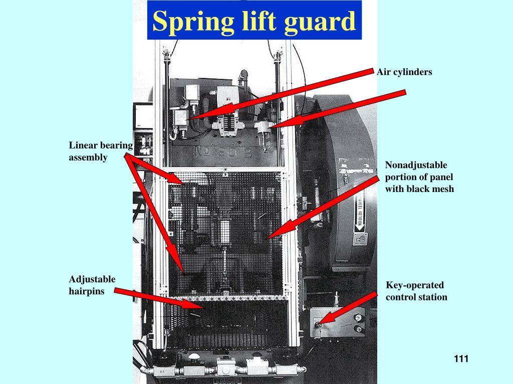 Spring lift guard