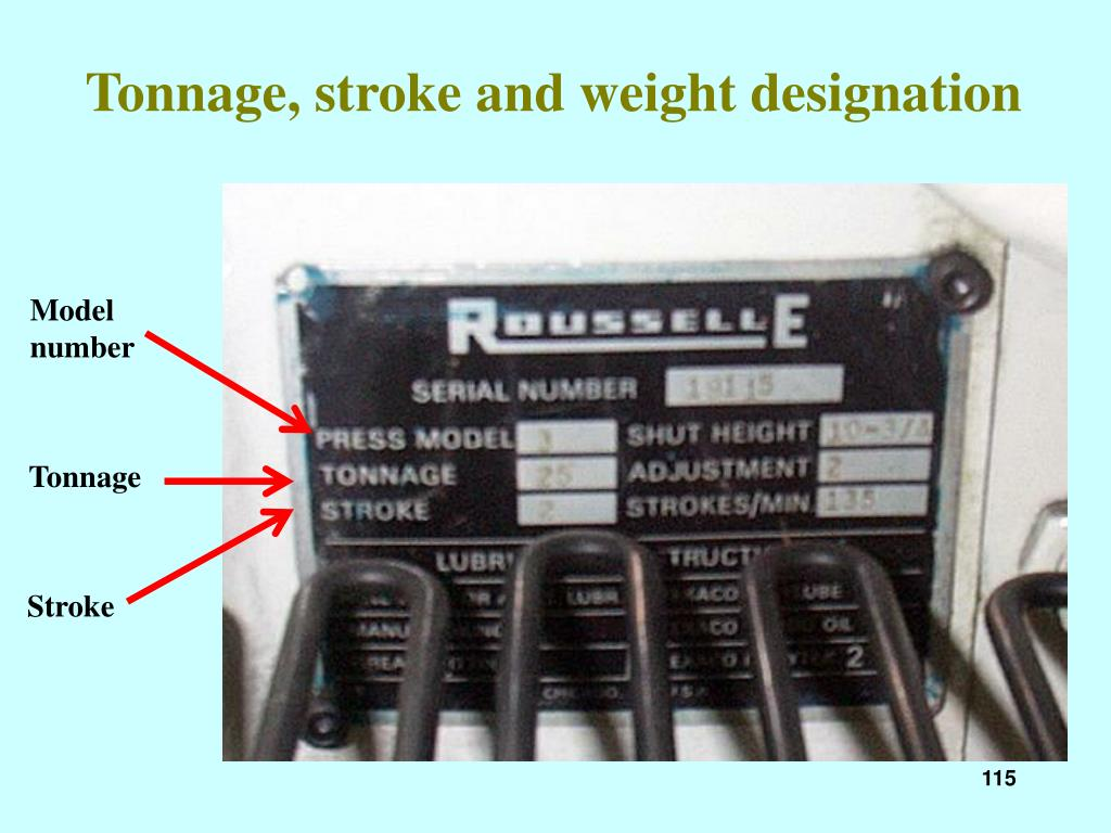Tonnage, stroke and weight designation