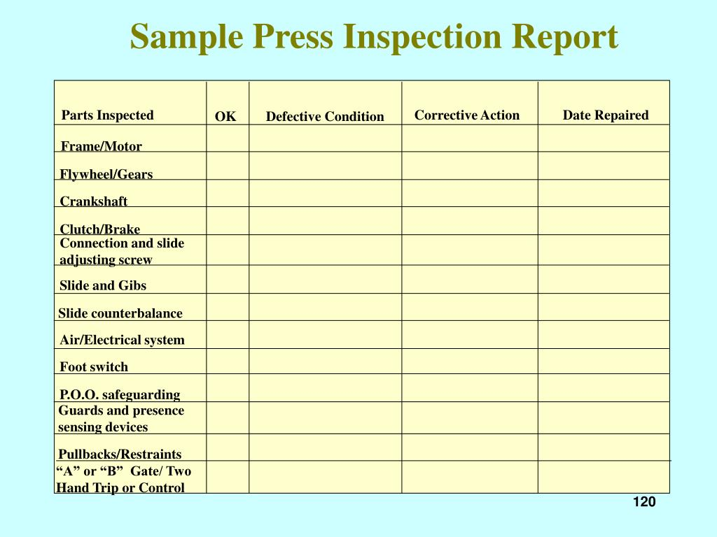 Sample Press Inspection Report