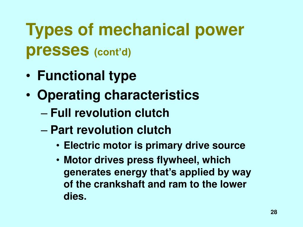 Types of mechanical power presses